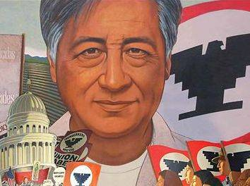 Cartoon of Cesar Chavez and the Eagle symbol of the UFW
