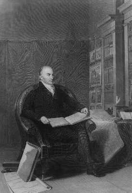 John Quincy Adams Sitting down in black and white