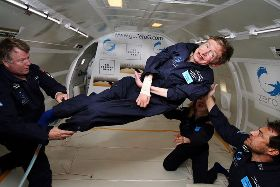 biography for kids scientist stephen hawking hawking floating during zero gravity flight
