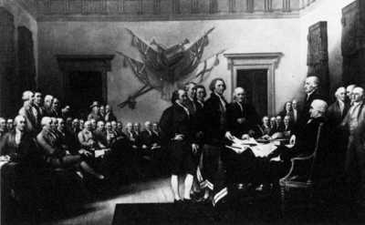 Thomas Jefferson Signing The Declaration Of Independence Black And White