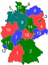 see the map below for the location and names of the states the largest states by population are north rhine westphalia bavaria and braden wurttemberg