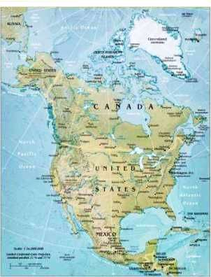 North America Bodies Of Water Map Geography for Kids: North American   flags, maps, industries
