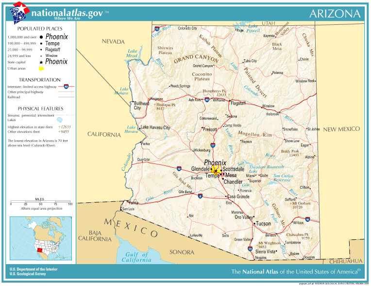 A Map Of Arizona State.United States Geography For Kids Arizona