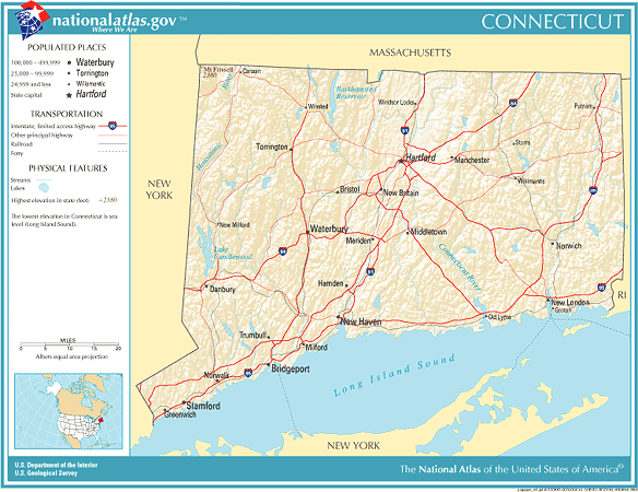 Rhode Island New York Map