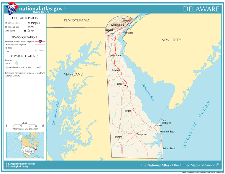 United States Geography For Kids Delaware - Delaware on us map