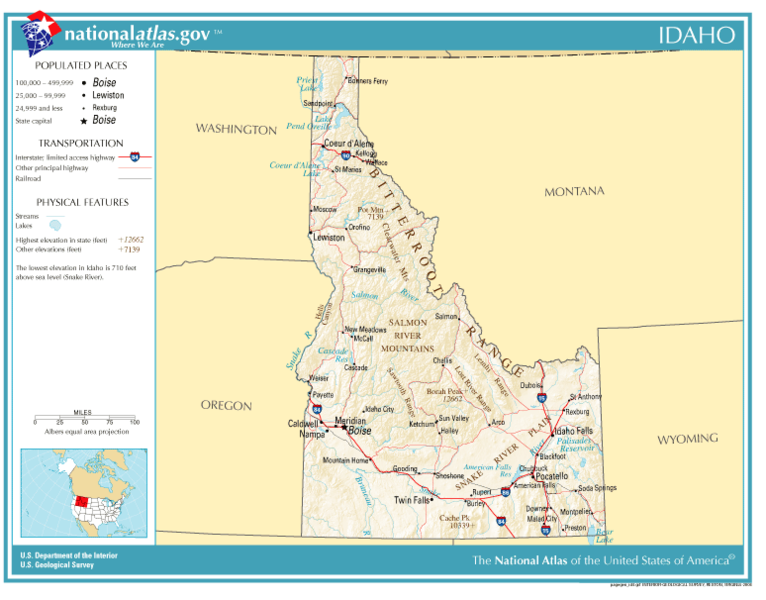United States Geography For Kids Idaho - Physical map of idaho