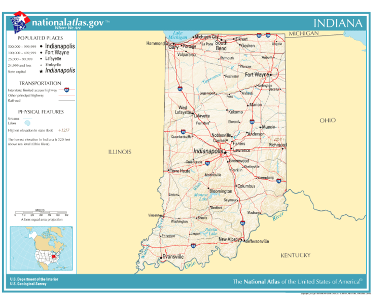 United States Geography For Kids Indiana - Indiana physical map