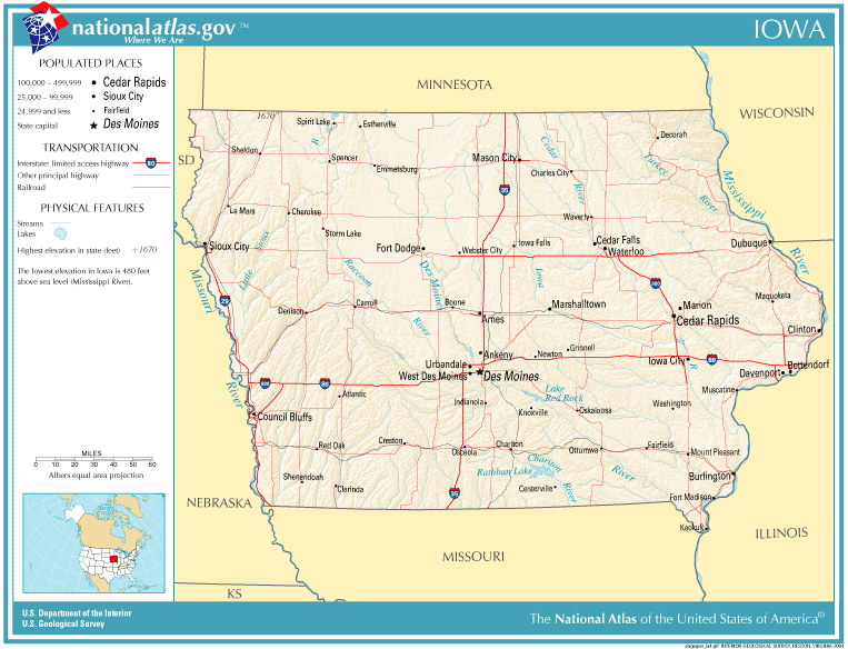 United States Geography For Kids Iowa Us Map Nebraska State