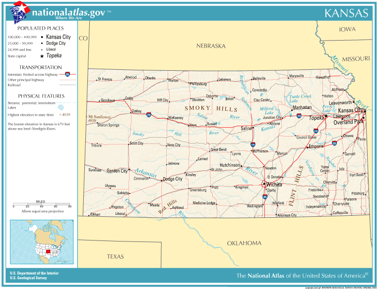 State Map Of Kansas And Oklahoma.United States Geography For Kids Kansas