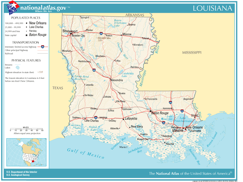 United States Geography For Kids Louisiana - Texas rivers and lakes map