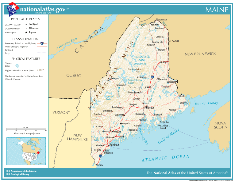 United States Geography For Kids Maine - Maine in usa map