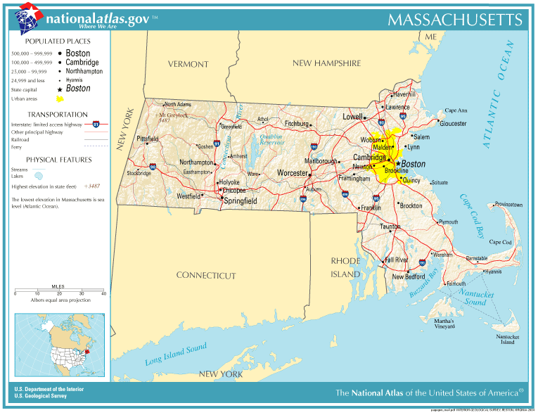 United States Geography For Kids Massachusetts - Massachusetts physical map
