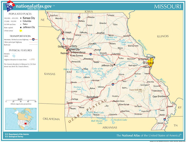 United States Geography For Kids Missouri - Missouri state map with cities