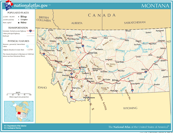 United States Geography For Kids Montana - Montana political map
