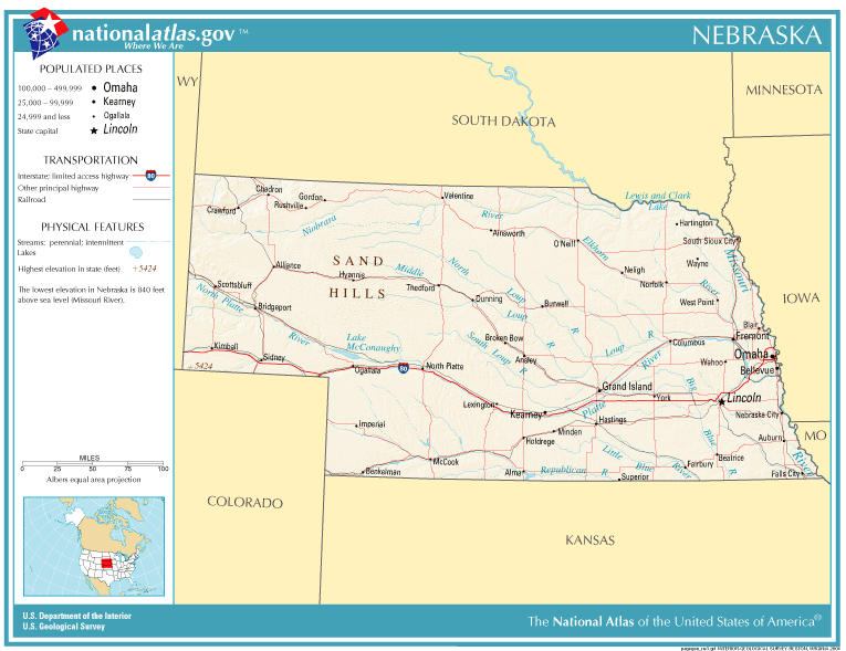 United States Geography For Kids Nebraska - Nebraska on the us map
