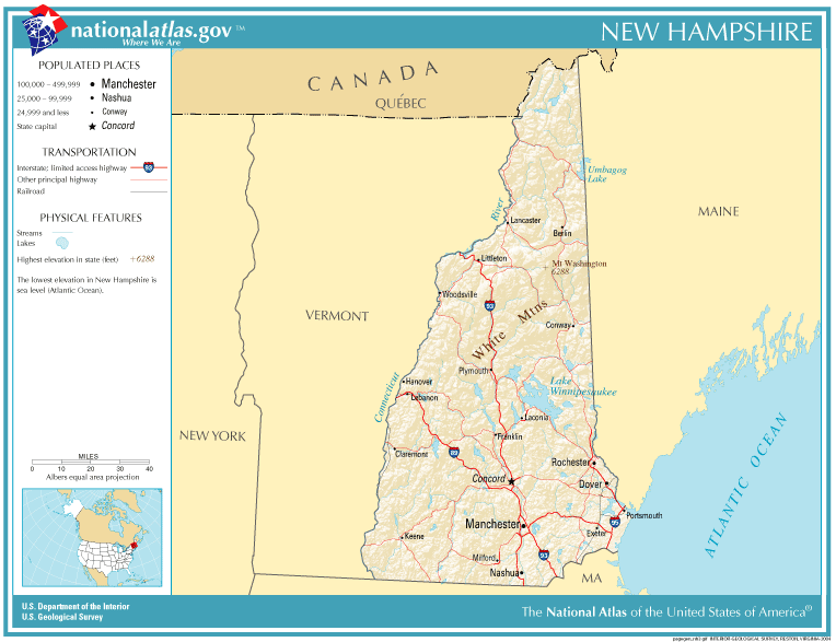 United States Geography For Kids New Hampshire - New hampshire on us map