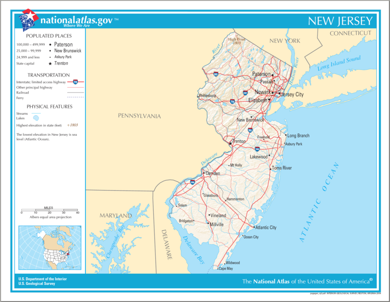 Asbury Park New Jersey Map.United States Geography For Kids New Jersey