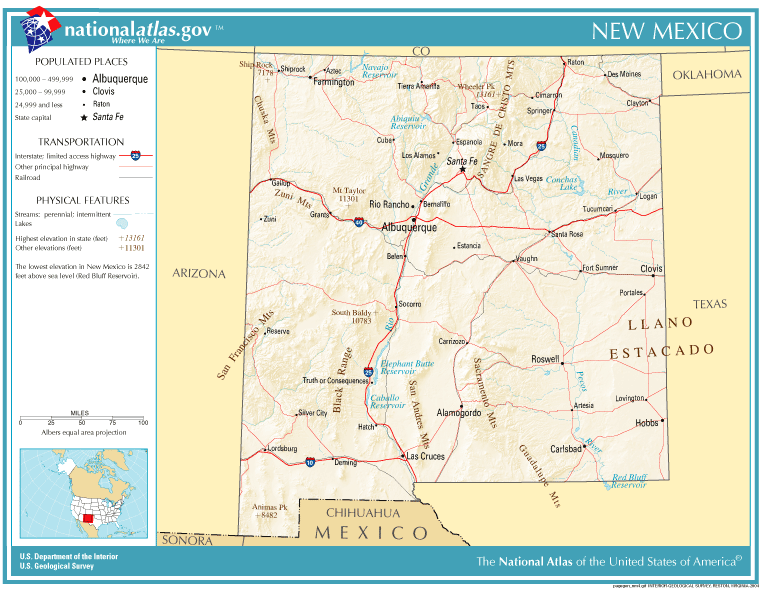 United States Geography For Kids New Mexico - New mexico in us map