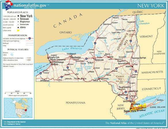 Map Of New York State And Canada.United States Geography For Kids New York