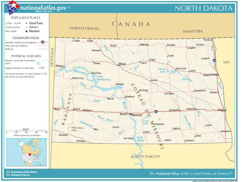 United States Geography For Kids North Dakota - North dakota road map with cities