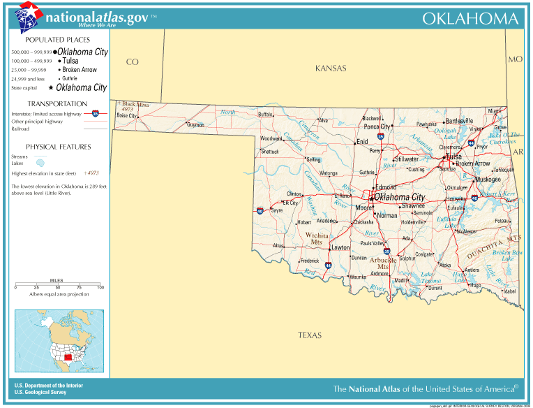 State Map Of Kansas And Oklahoma.United States Geography For Kids Oklahoma