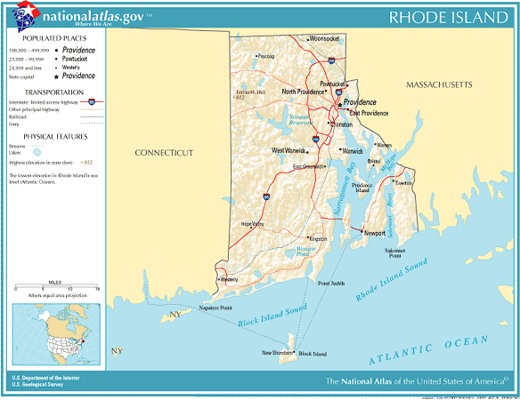 United States Geography For Kids Rhode Island - Rhode island physical map