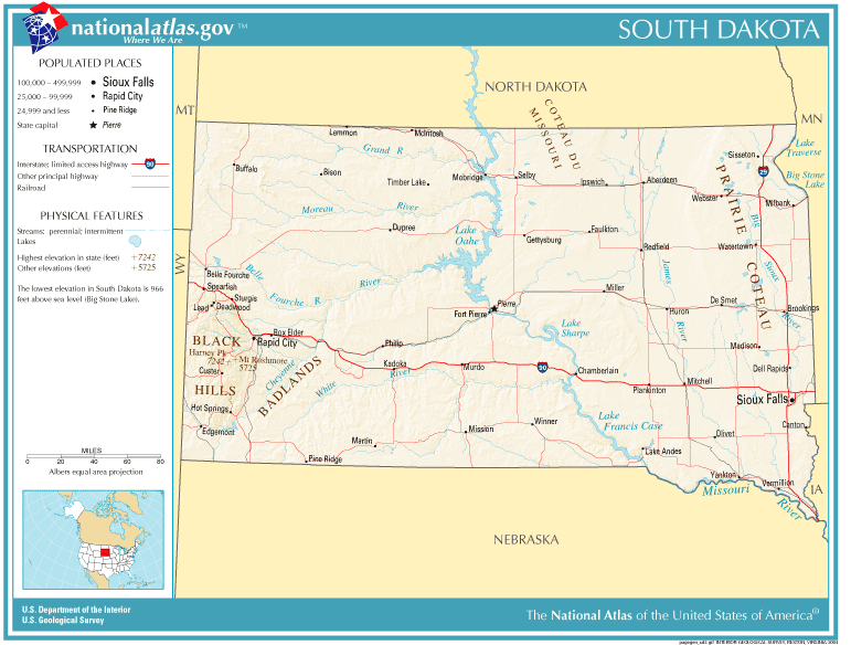 United States Geography For Kids South Dakota - South dakota map united states