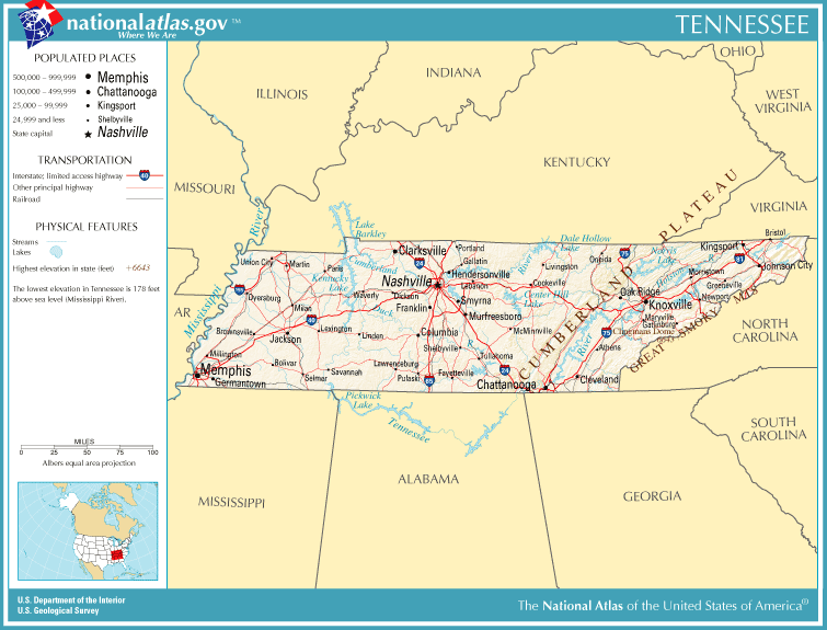 United States Geography For Kids Tennessee - Us map tennessee