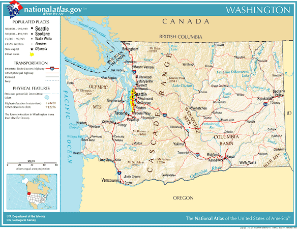 United States Geography For Kids Washington - Bodies of water map us
