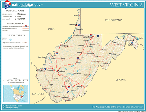 United States Geography For Kids West Virginia - Virginia physical map
