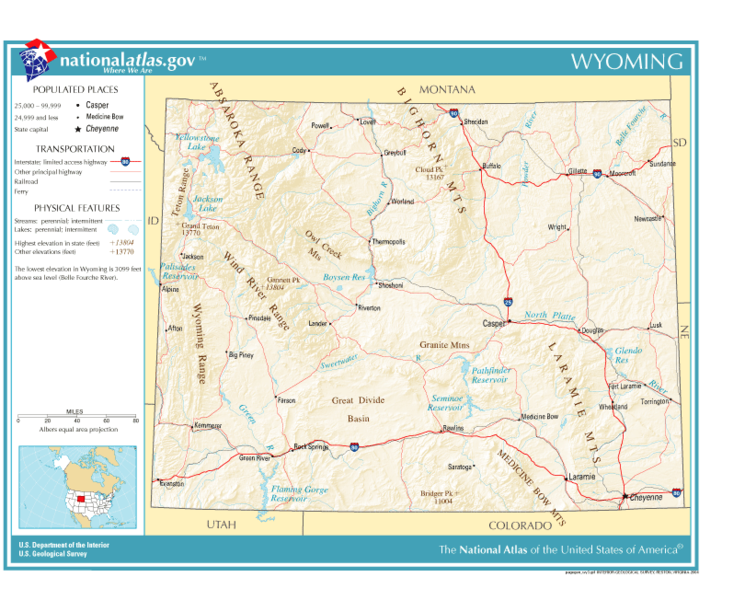 United States Geography For Kids Wyoming - Map of wyoming cities