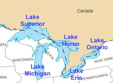 United States Geography Lakes - The great lakes on us and canada map