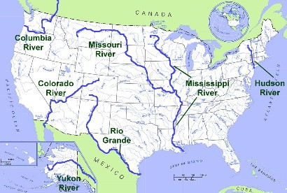 Major Us River Map United States Geography: Rivers