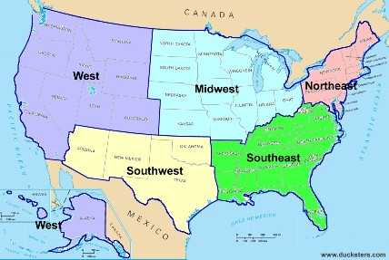 United States Geography Regions - 4 of the prominent 4 regions of us map