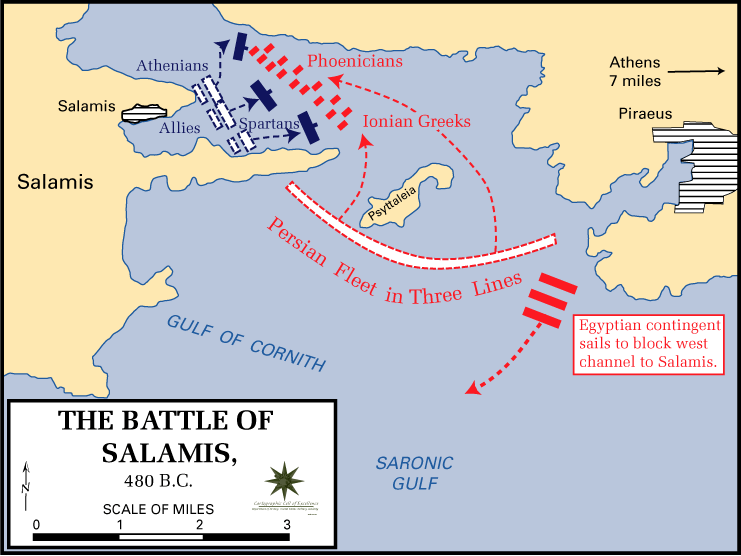 Battle of Salamis Map Battle of Salamis Map