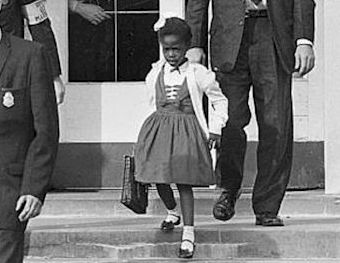 Ruby Bridges guarded by US Marshalls