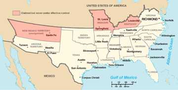 American Civil War States Map.Civil War For Kids The Confederation Of The United States
