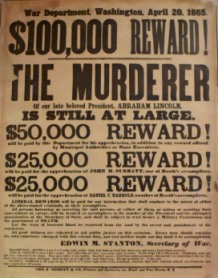 Wanted poster for Lincoln's killer