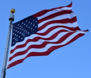 United States flag in the wind