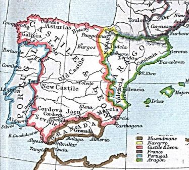 Map Of Spain Under Moorish Rule.Middle Ages For Kids Reconquista And Islam In Spain
