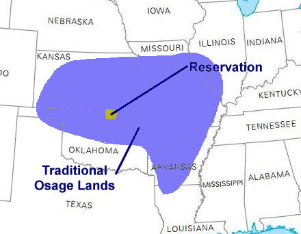 traditional osage nation lands map by ducksters