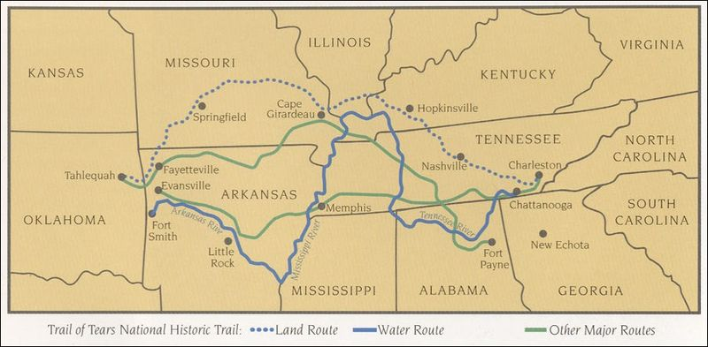 the trail of tears Trail of tears, in us history, the forced relocation during the 1830s of eastern woodlands indians of the southeast region of the united states (including cherokee, creek, chickasaw, choctaw, and seminole, among other nations) to indian territory west of the mississippi river estimates based on.