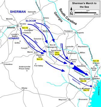 Sherman\\\\\\\\\\\\\\\'s March To The Sea Map Civil War for Kids: Sherman's March to the Sea