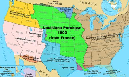 united states expansion map from the national atlas of the united states the louisiana purchase is shown in green click picture to see larger view