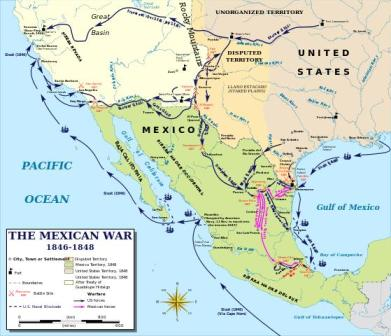 map of the mexican american war