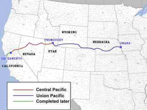 carte USA transcontinental rail