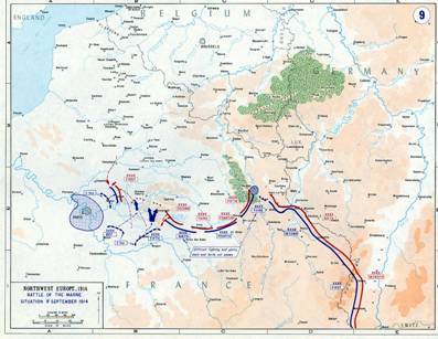 World war i for kids first battle of the marne map of the first battle of the marne gumiabroncs Images