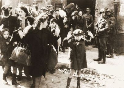 Jewish boy and mother being arrested