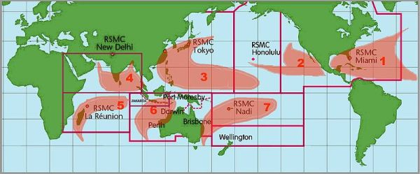 locations of tropical cyclones throughout the world