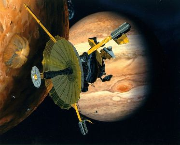 Drawing of the Galileo mission to Jupiter